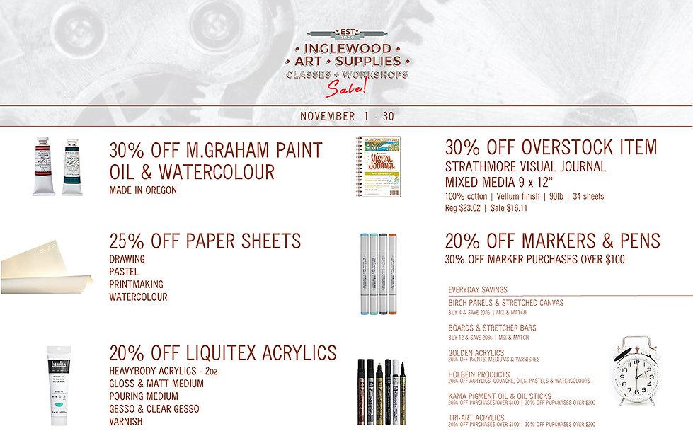 November Sale Inglewood Art Supplies