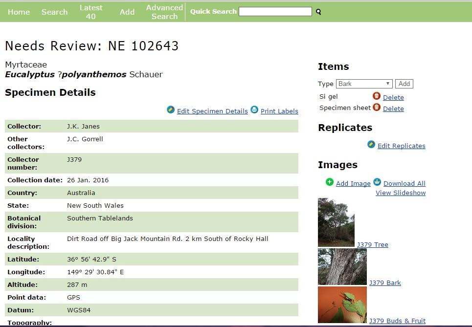 Herbarium data entry