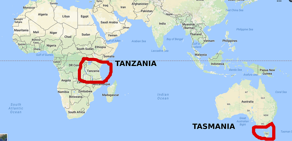 Tasmania is nowhere near Tanzania!