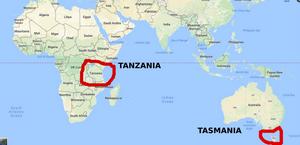 Tasmania is nowhere near Tanzania!