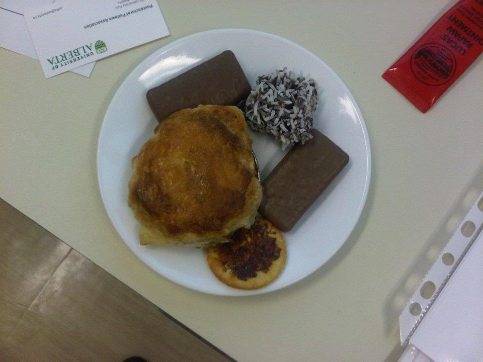 lamington, tim tams, pies and vegemite