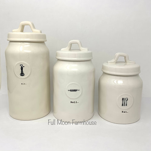 Rae Dunn Icon Canister Set (Mix, Roll, Eat)