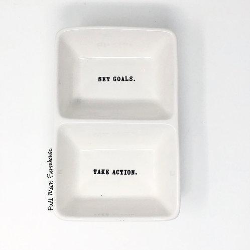 Rae Dunn Set Goals/Take Action Divided Dish