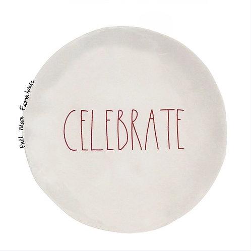 """Rae Dunn 10"""" Melamine Celebrate Plate"""