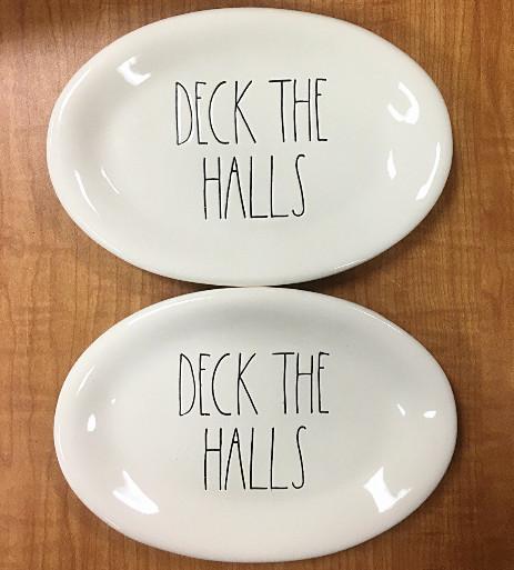 rae dunn deck the halls christmas appetizer plates