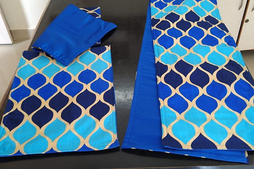 Blue and Gold Table Runner and Placemats - Medium