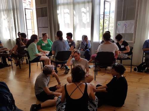 JASS participants meeting in groups