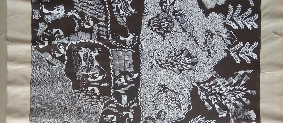 Warli tribal art on canvas medium size $