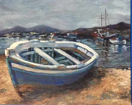 Boat in Mykonos Harbor