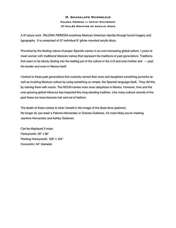 artist statement on Paloma Perdida