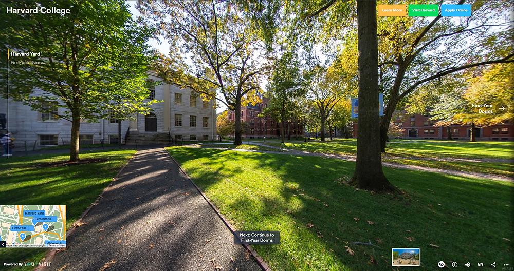 Harvard's virtual campus on YouVisit