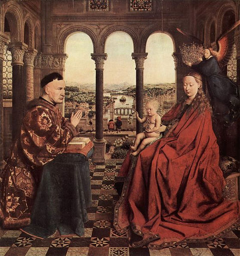 Jan van Eyck,The Virgin of Chancellor Rolin, 1435:The Virgin of Chancellor Rolinhas a great deal of texture in the clothing and robes, but the actual surface of the work is very smooth.