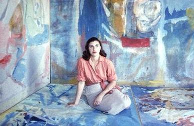 Helen Frankenthaler, 1956: A photograph of the American artist Helen Frankenthaler in her studio in 1956.