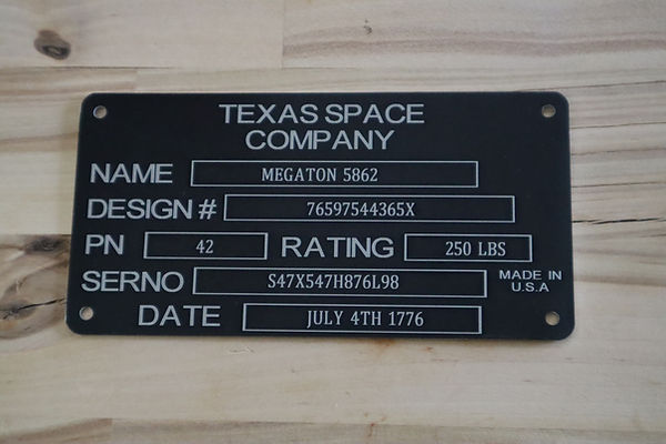 Laser engraved Plaque, Laser Marked Plaque, Laser printed Plaque. Made in the U.S.A