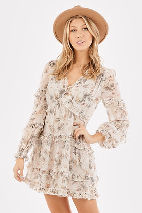 Floral Print Tiered Ruffles Babydoll Dress Sage and Blanc