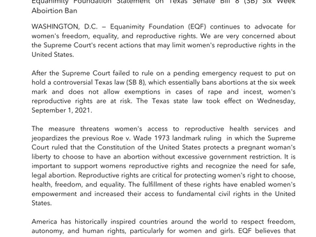 Equanimity Foundation Statement on Texas Senate Bill 8 (SB) Six Week Aboirtion Ban