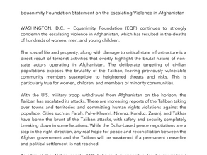 Equanimity Foundation Statement on the Escalating Violence in Afghanistan