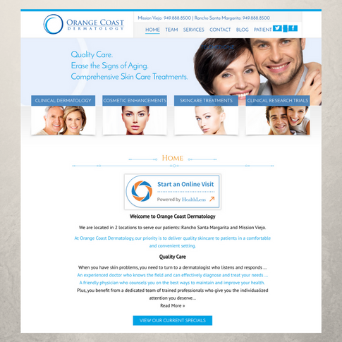Orange Coast Dermatology Website