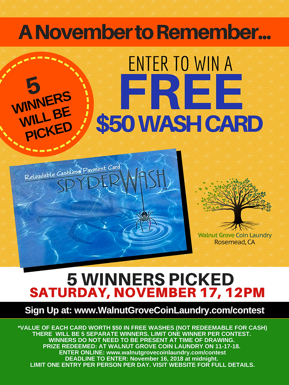 Walnut Grove Coin Laundry Contest