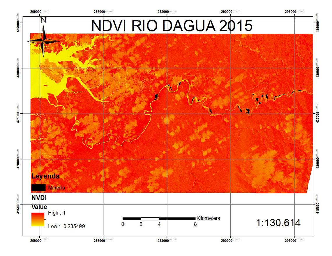 Delimitación de las áreas con minería, que suman 110 ha de minería.
