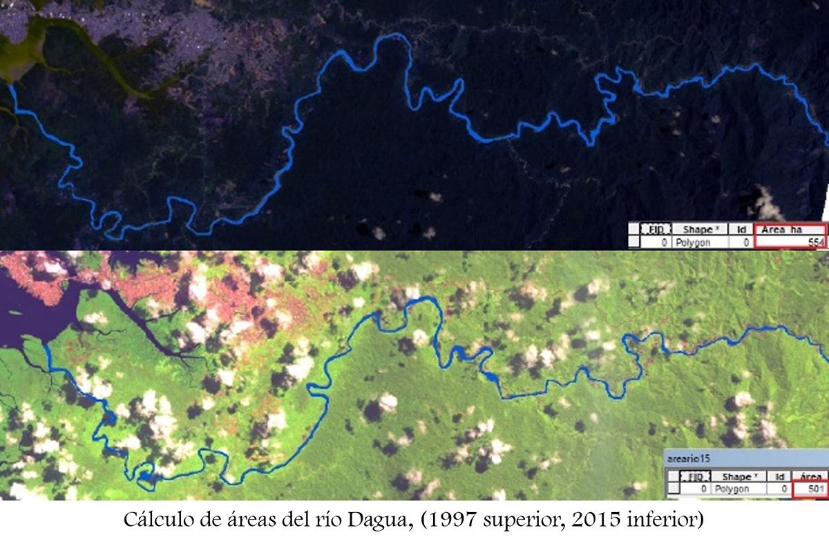 La imagen de arriba (1997) muestra el ancho del cauce del río y la de abajo contrasta el estado actual, donde se evidencia la reducción del mismo.