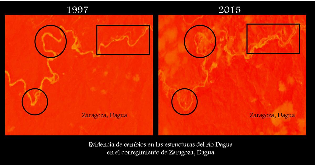 Evidencia de la deformación de los meandros o curvas del río, a causa de las lagunas producto de la actividad minera.