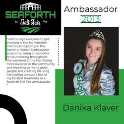 2013 Danika Klaver Ambassador