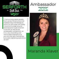 2015 Maranda Klaver  Ambassador