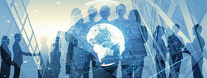 Global business concept. Silhouette of b