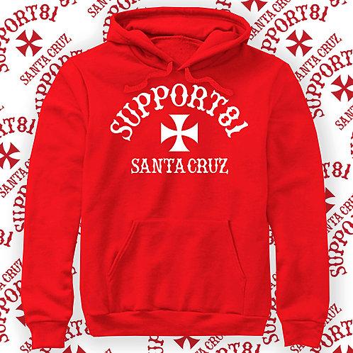Support 81 Santa Cruz, Red Hoodie.
