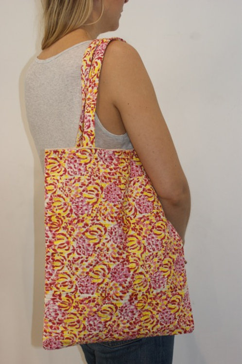Tote bag small Yellow/pink