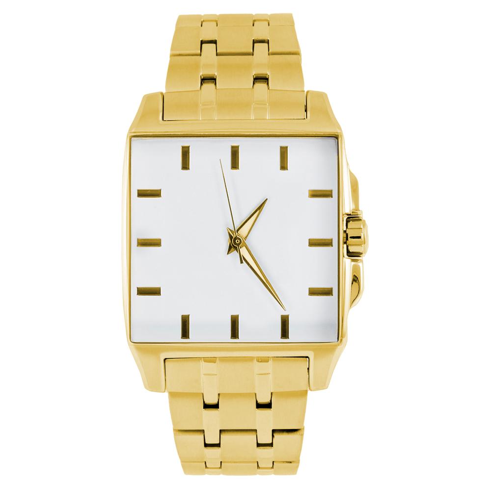 Gold-Quadrat-Uhr