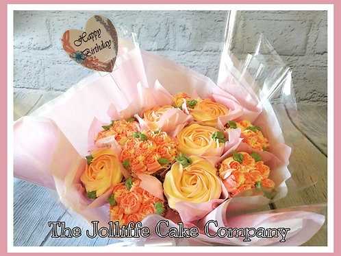 Cupcake Bouquet Roses & Buds 12 Cup