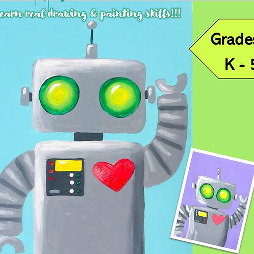 DIGITAL DOWNLOAD- ROBOT ART LESSON- Drawing & Painting for K-5th