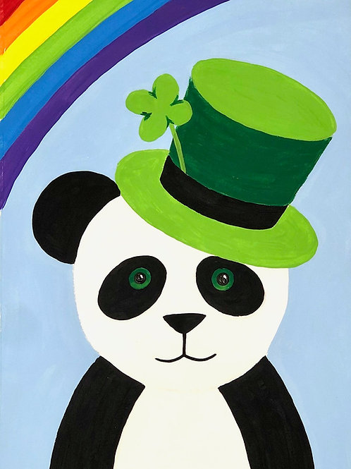 DIGITAL DOWNLOAD ST.PADDY'S PANDA ART LESSON- Drawing & Painting for K-5th Grade