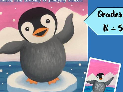 DIGITAL DOWNLOAD- PENGUIN ART LESSON- Drawing & Painting for K-5th Grade