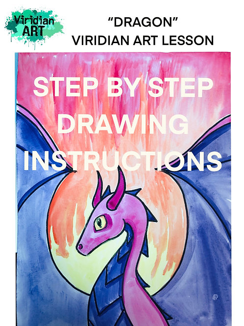 DIGITAL DOWNLOAD DRAGON DRAWING INSTRUCTIONS- for K-8th Grade