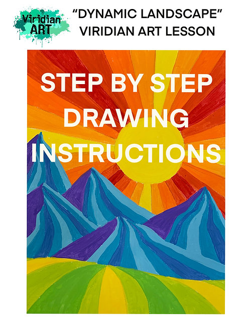 DIGITAL DOWNLOAD DYNAMIC LANDSCAPE DRAWING INSTRUCTIONS- for 3-8th Grade