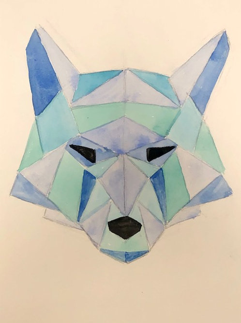 DIGITAL DOWNLOAD GEOMETRIC WOLF DRAWING INSTRUCTIONS- for 3-8th Grade