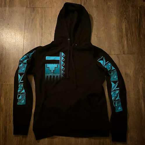 Black and Turquoise Hoodie