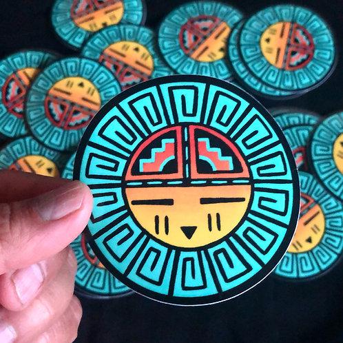 Turquoise Sun Sticker