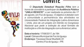 Mesmo com retirada de Emenda, Requião Filho mantém Audiência Pública em Foz, nesta quinta