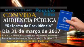 Reforma da Previdência será tema de Audiência Pública, dia 31, na Assembleia Legislativa do Paraná