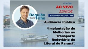 Ao Vivo de Paranaguá - Audiência Pública debate dificuldades do transporte de passageiros no litoral