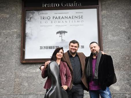 Trio Paranaense faz concerto de violino, violoncelo e piano no Guairinha