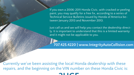 Check the VIN number on your Honda Civic