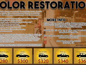 We offer Complete Auto Detail, prices start at $280