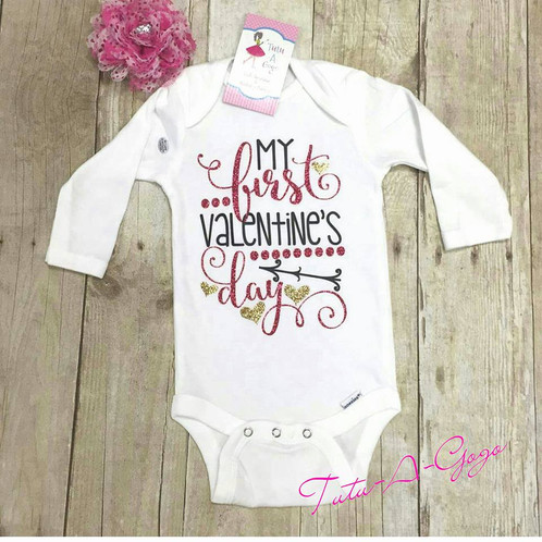 My 1st Valentine S Day Onesie Valentine S Day Childrens Shirts V