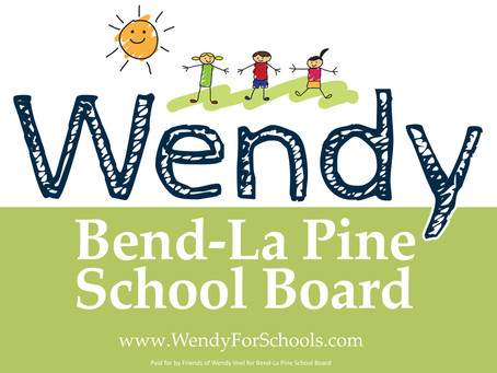 Campaign Signs for Imel, Haffner, Henton and Lopez-Dauenhauer for Bend-La Pine Schools Board 2021
