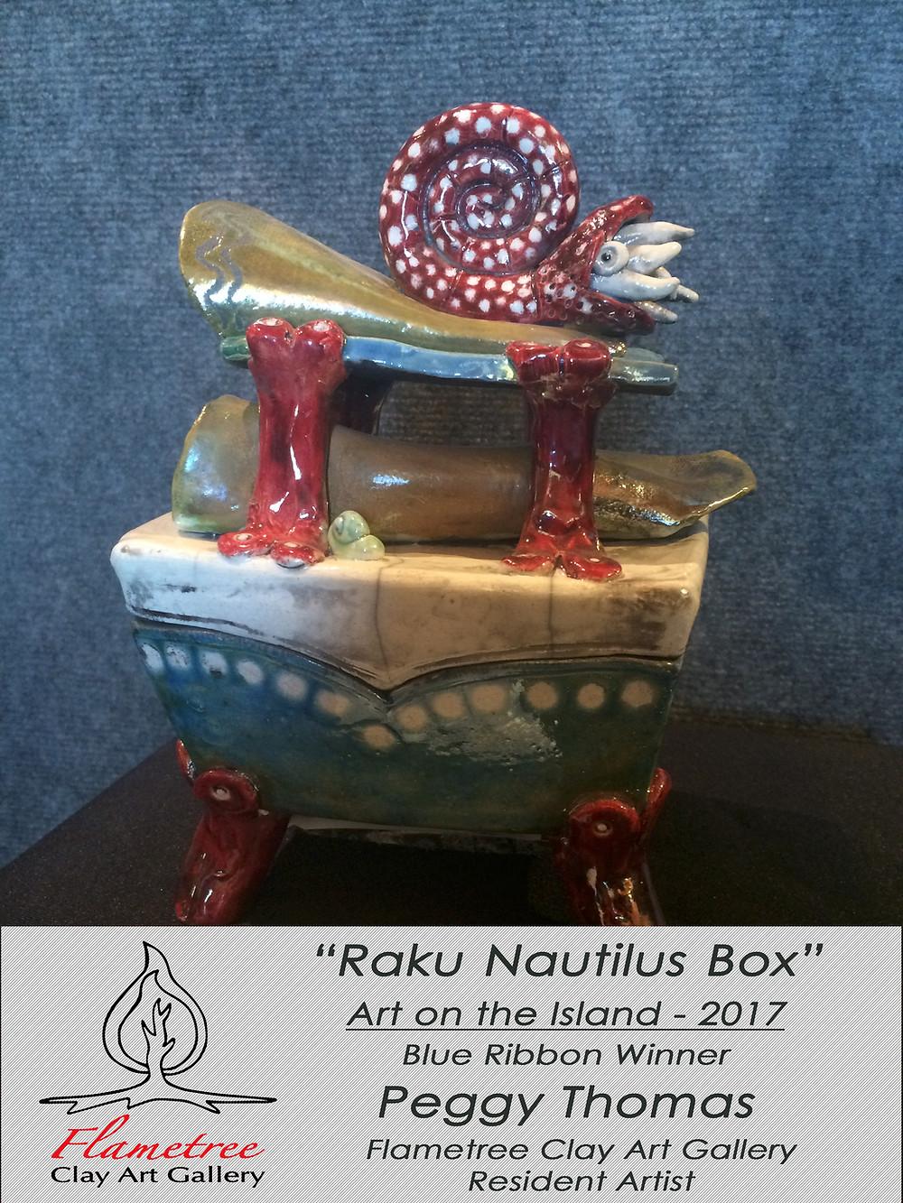 Raku Nautilus Box by Peggy Thomas - Resident Artist - Flametree Clay Art Gallery